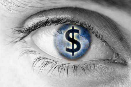 Dollar sign in human pupil  Greed concept