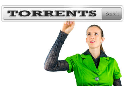 pirated: Torrents written in search bar on virtual screen. Stock Photo