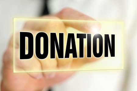 humanitarian: Donation  button on virtual screen.