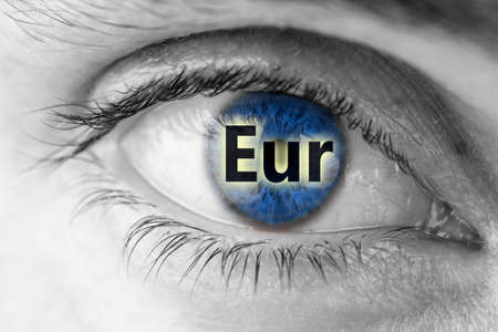 Euro sign in blue human pupil. photo