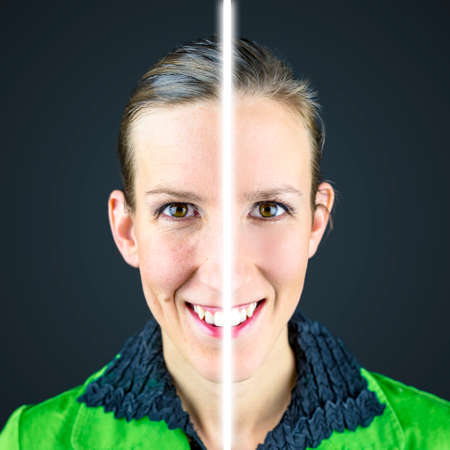 anti wrinkles: Young woman before and after retouching. Stock Photo