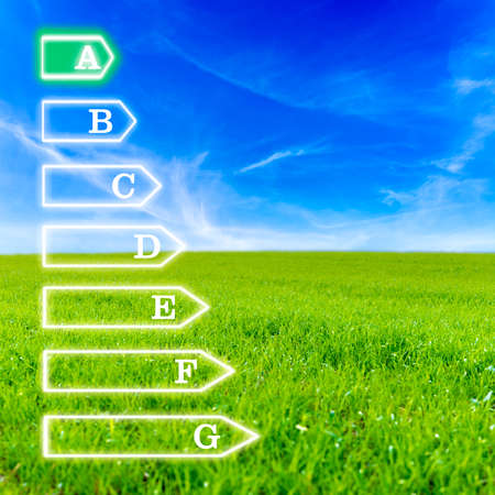 certified: Scale of seven levels of energetic efficiency on virtual screen with beautiful green meadow and blue sky for background. Emphasis on a level of efficiency.