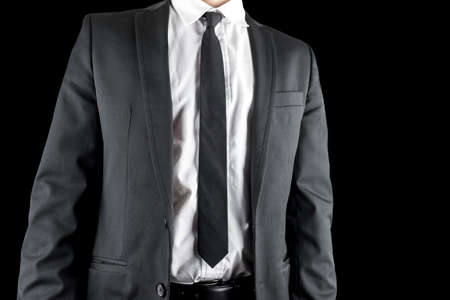 tailored: Front view of man in black elegant formalwear. Stock Photo