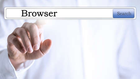 Internet browser on virtual screen. Stock Photo