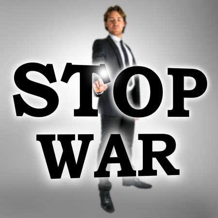 no war: Man choosing Stop war icon on virtual interface.