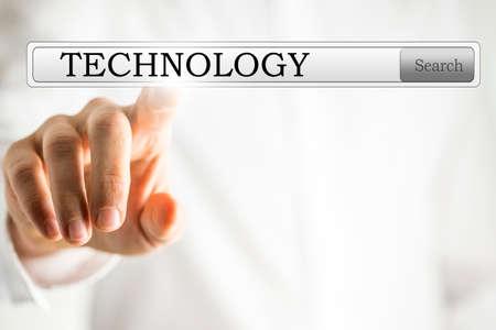 hightech: Word Technology written in search bar on virtual screen. Stock Photo