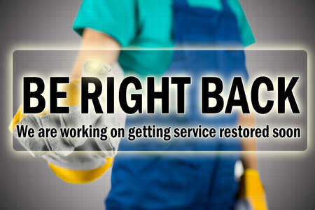 glitch: Be right back - ISP interruption message showing that they are aware that the service is down and are in the process of repairing the internet connection