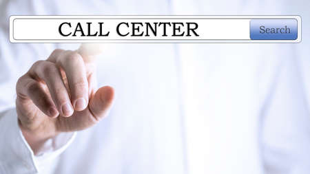 activate: The words Call Centre in a navigation bar on a virtual screen with a business man using his finger to activate the touchscreen and make contact with client services