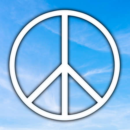 disarmament: Universal Peace sign over a sunny blue sky, originally adopted as a nuclear disarmament and anti-war icon in the sixties it now embodies peace and freedom