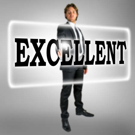activating: The word Excellent on a virtual interface in a computer navigation bar with a businessman in a suit standing behind it activating the touchscreen with his finger Stock Photo