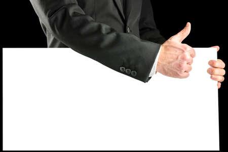 comunicacion no verbal: Hombres de negocios con un cartel en blanco con un pulgar hacia arriba gesto de aprobación a demostrar que todo va bien o tiene su apoyo, copyspace para el texto