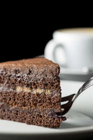 crumbly: Close up showing the soft crumbly texture of a delicious slice of freshly baked rich chocolate cake with a fork served for tea or a coffee break.