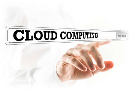 centralized: Cloud computing written in a navigation bar on a virtual interface with a businessman reaching out his finger to activate the search button from behind. Stock Photo