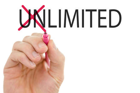 unrestricted: Unlimited- Limited concept of opposites with a man crossing through the Un in the word Unlimited with a red marker on a virtual interface or screen with a white background and copyspace. Stock Photo