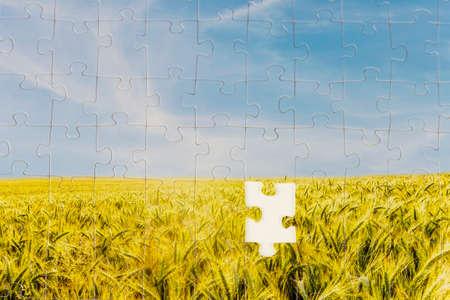 Een laatste stuk nodig om de puzzel te voltooien in een landschap puzzel beeltenis van een zonovergoten veld of rijping gouden tarwe met een stuk ontbreekt in het centrum in een conceptueel beeld. Stockfoto