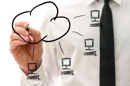 男性手描き、クラウドに接続されている 4 台のコンピューターで仮想インターフェイスでコンピューティング ピクトグラムを雲します。