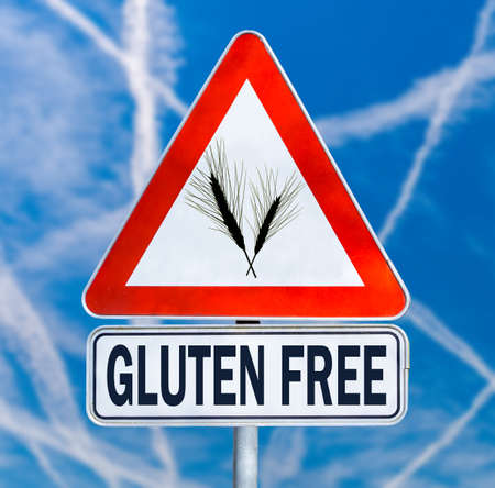 intolerance: Gluten Free traffic sign with a black silhouette of ears of wheat on a triangular sign with the text below denoting food which is safe for consumption by coeliacs or people with gluten intolerance