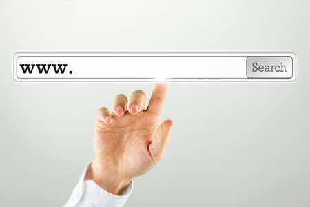artistic design: Businessman pushing a search bar on a virtual computer screen  Empty space ready for your web address or keywords
