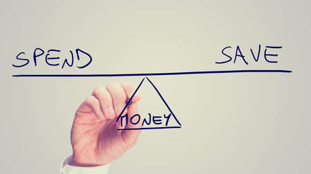 whether: Conceptual retro image of whether to Spend or Save your Money with a man drawing a diagram of a seesaw on a virtual screen balancing the two concepts of - Spend - Save - in equilibrium.