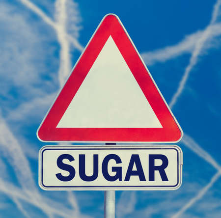abstinence: Sugar danger warning composed of white triangular traffic warning sign with the word