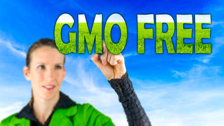 genetically modified: GMO Free conceptual image with a girl reaching up to touch text - GMO Free - in letters of green grass against a blue sky depicting cultivating healthy farm crops that are free of genetic modification