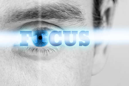 sensory perception: Futuristic image of sign Focus using human eye as the letter O