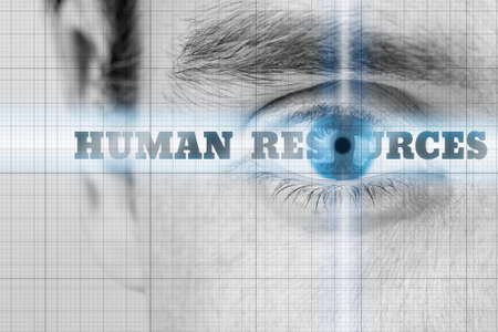 governance: Human Resources concept with a closeup greyscale image of a mans eye with selective blue coloring to the iris and the words - Human Resources - on radiating light across the eye.