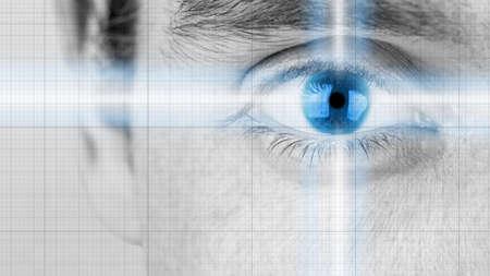 グレースケールを放射光とブルー アイリスの知性、インスピレーション、先見の明とビジョンの概念と男性の目のイメージを閉じます。