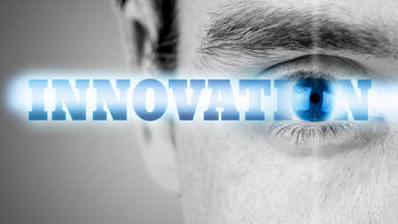 technological: Futuristic image with word Innovation using human eye as the letter o.