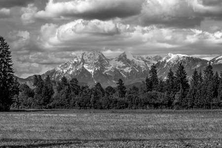 karavanke: Greyscale image of beautiful Slovenian mountains.
