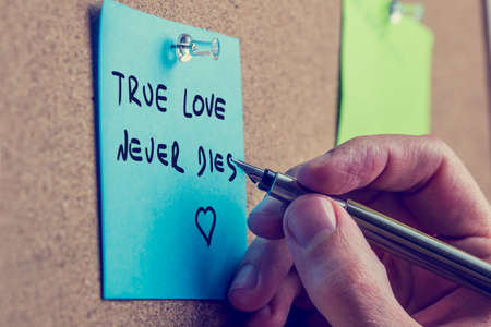 true love: Closeup of male hand writing True love never dies phrase on blue post it paper on cork bulletin board, retro effect faded look. Stock Photo