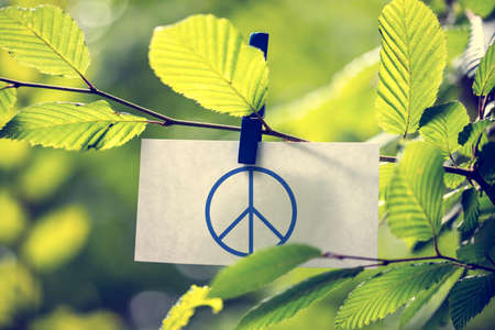 hostility: Peace concept with a peace sign attached to a twig of fresh green sunlit leaves by a wooden clothes peg. Stock Photo