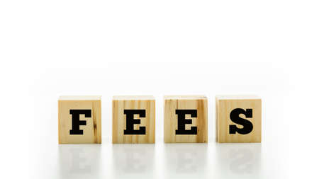 fees: The word - Fees - on four natural wooden blocks or cubes on a reflective white surface