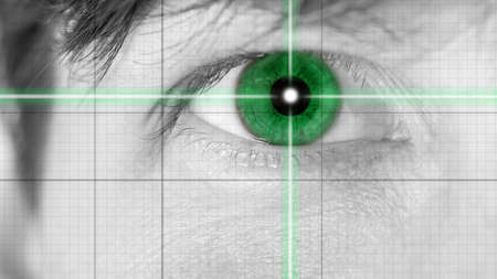 Close up Green Single Eye on Grid Lines. Common to Movie Effects. photo