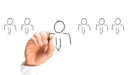 인간의 손에 스케치 스틱 비즈니스 사람들이 흰색 배경에 고립.