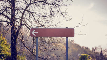 branched: Blank red signpost with left pointing arrow in front of a bare branched deciduous tree with mountain backdrop. Stock Photo