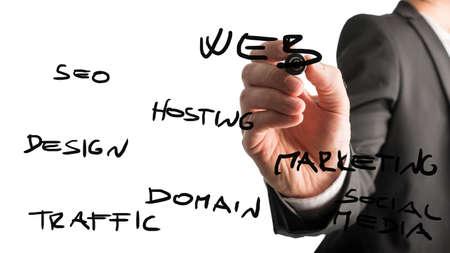 가상 인터페이스에 마커 단어, 웹, 검색 엔진 최적화, 트래픽, 도메인, 디자인, 호스팅, 마케팅, 소셜 미디어와 함께 쓰는 사업가의 손을 가까이 볼 수있