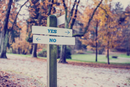 indecision: Rustic wooden sign in an autumn park with the words Yes - No offering a choice of action and attitude with arrows pointing in opposite directions in a conceptual image.