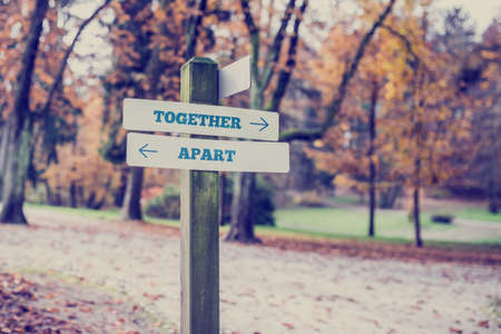 relationship breakup: Rustic wooden sign in an autumn park with the words Together- Apart with arrows pointing in opposite directions in a conceptual image.
