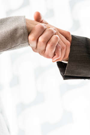 Businesspeople shaking their hands with further lateral copyspace on an abstract background. photo