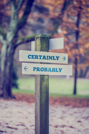 apparently: Signpost in a park or forested area with arrows pointing two opposite directions towards Certainly and Probably, retro effect faded look. Stock Photo