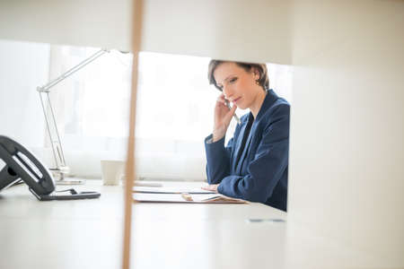 interpreter: View through an interior partition of an attractive businesswoman hard at work in the office sitting reading paperwork at her desk. Stock Photo
