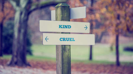 cruel: Signpost in a park or forested area with arrows pointing two opposite directions towards Kind and Cruel with a vintage style filter effect.