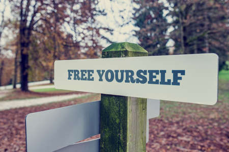 free your mind: Retro vintage style image of a rustic signboard outdoors in an autumn park with words Free yourself. Conceptual of freeing your mind of fears, obstacles and past. Stock Photo