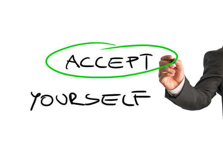 yourself: Professional therapist writing an Accept yourself message on a white virtual screen. Conceptual of mental health care.