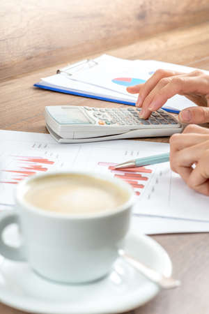 verifying: Female business accountant proofreading financial annual report presented in graphs verifying profit and earnings on white calculator. Focus on calculator. Stock Photo