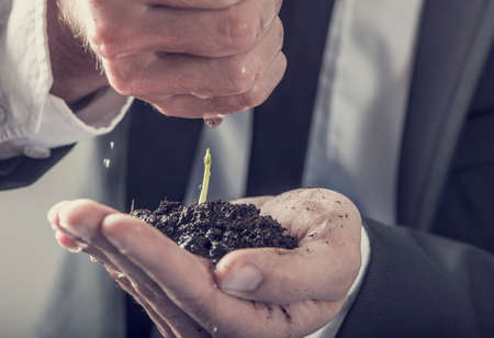 plant hand: Businessman pouring water over a young green plant held in his hand, concept of success, business startup and new life, retro filter effect. Stock Photo