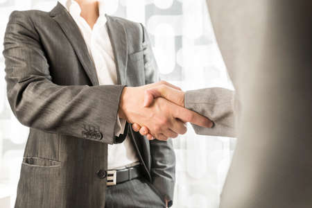 commitment: Closeup of male and female business or political partners shaking hands in agreement.