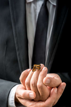 settled: Businessman carefully holding a butterfly that has settled on his fingers in a conceptual image of transformation and business freedom. Stock Photo