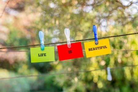 proteccion: La vida es bella concepto con las palabras que cuelga en tres tarjetas verdes, rojos y amarillos de una línea de ropa con clavijas de plástico sobre un fondo verde de la naturaleza frondosa. Foto de archivo